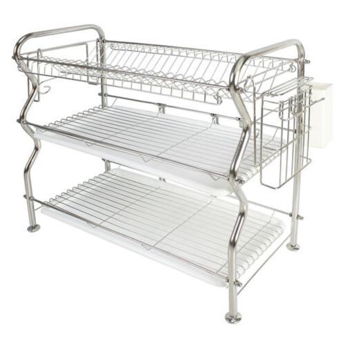 Dish Rack 3-Tier Over Sink Kitchen Drainer 304 Stainless Ste