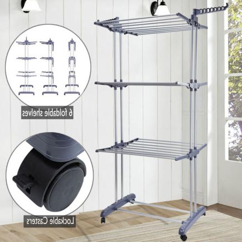 3 tier folding clothes airer laundry dryer