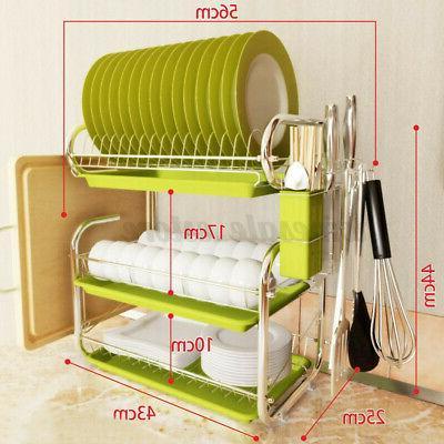 3 Tier Stainless Dish Drainer Kitchen Storage Kit