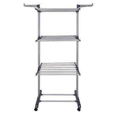 3 Tier Drying Rack Folding Dryer Hanger Airer Compact Storage Black
