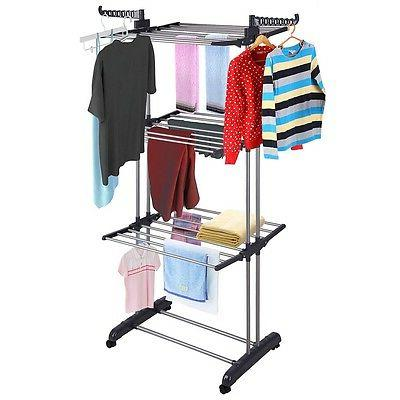 3 Tier Steel Clothes Drying Rack Dryer Storage Black