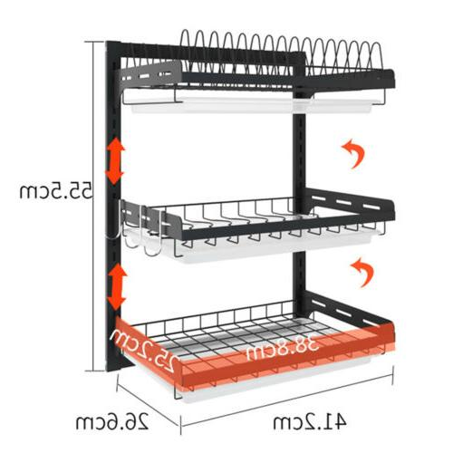 3 Tier Dish Plate Cup Drying Rack Organizer Drainer Storage