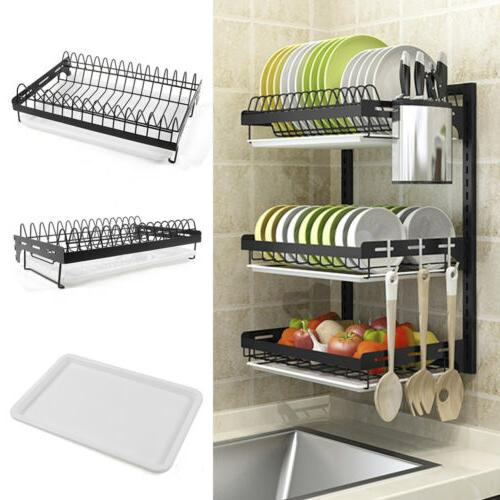 3Tier Wall Dish Drying Rack Organizer Home Kitchen Collectio