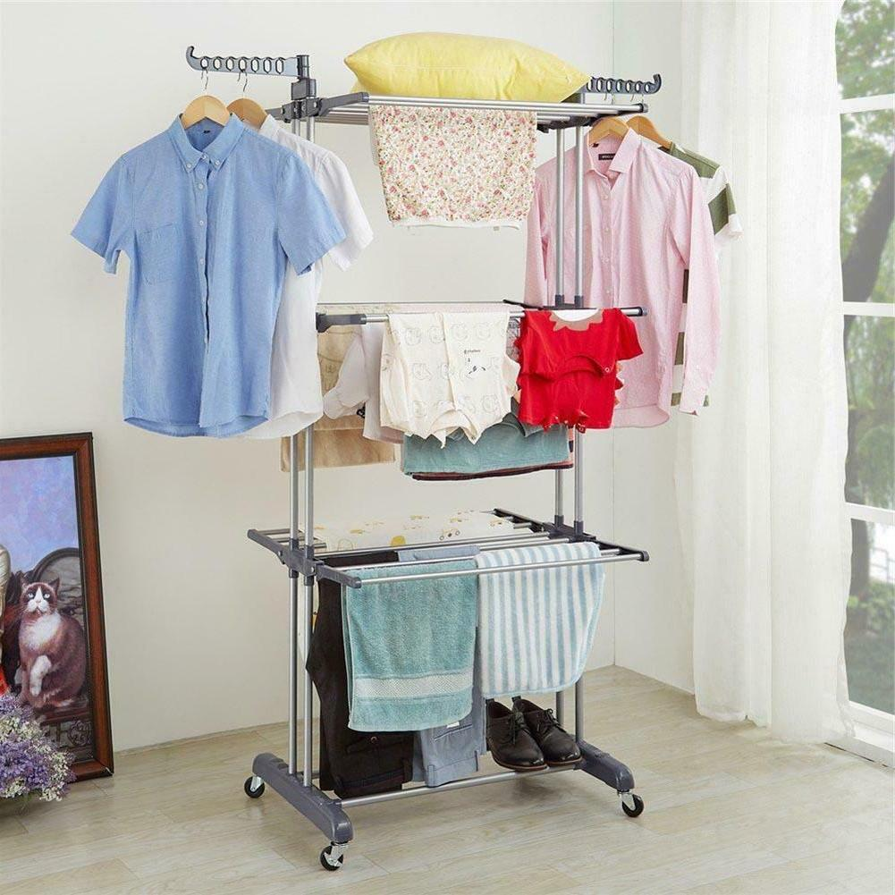 3Layer Folding Laundry Rack Drying Rail Hanger US