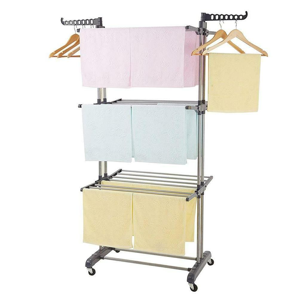 3Layer Folding Clothes Airer Laundry Drying Rail Hanger