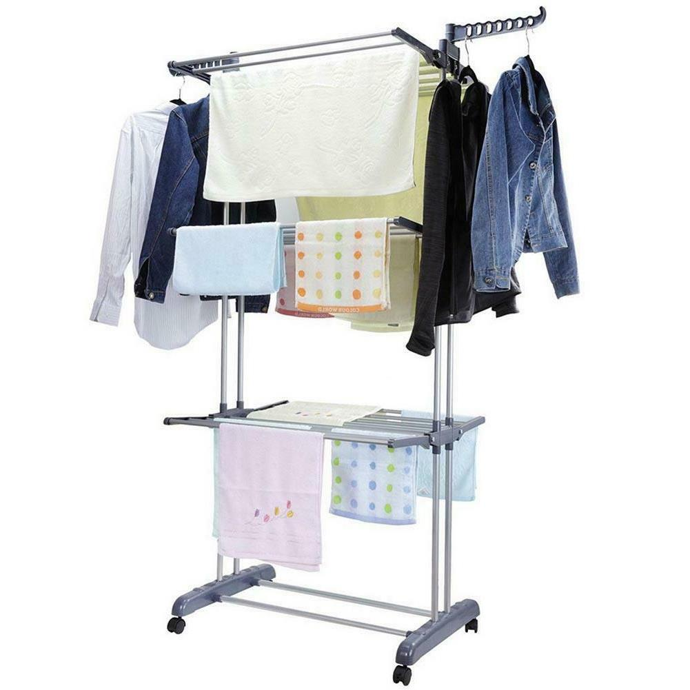 3Layer Laundry Dryer Rack In/Outdoor Drying Rail Hanger