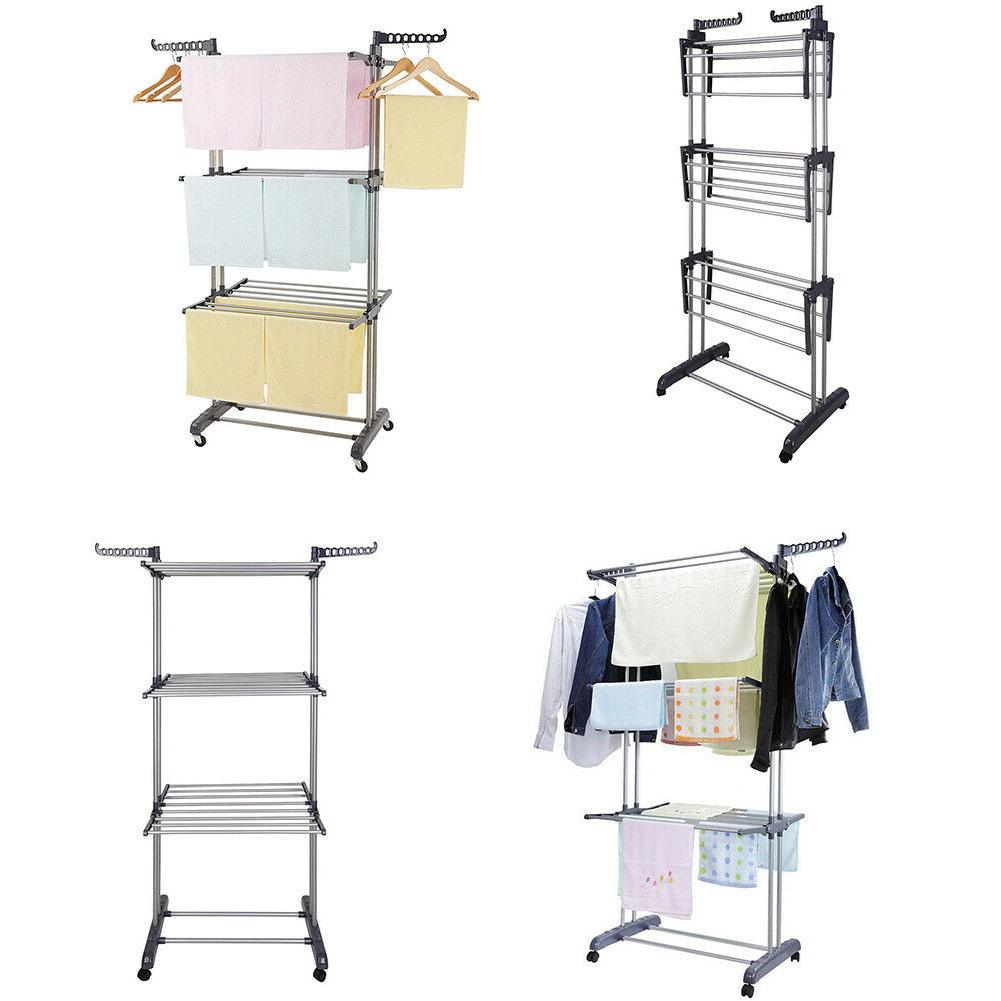 3 tiers collapsible clothes drying rack laundry