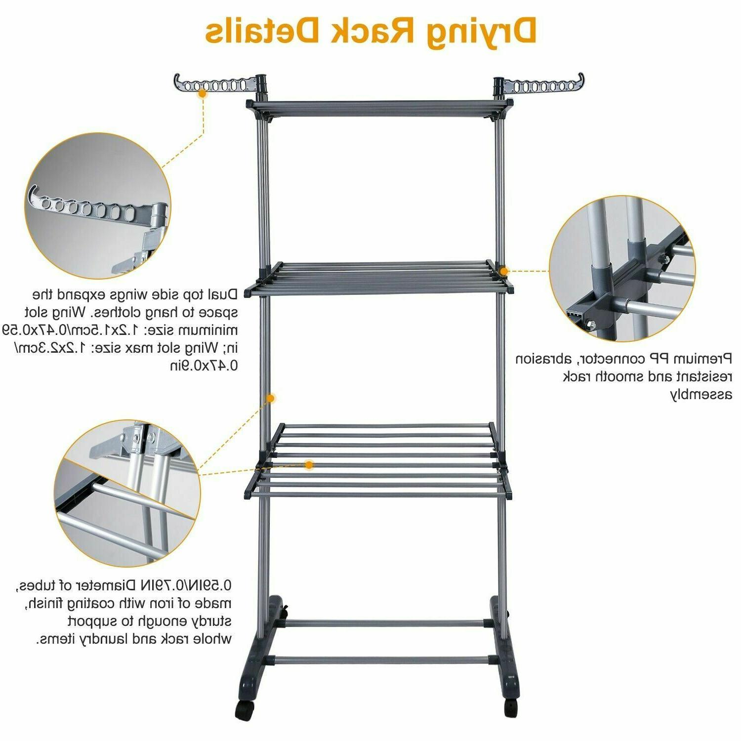 3Tier Clothes Drying Rack Dryer Hanger Stand