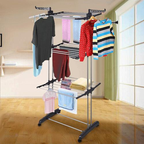 3Tier Stainless Folding Drying Rack Dryer Hanger Stand
