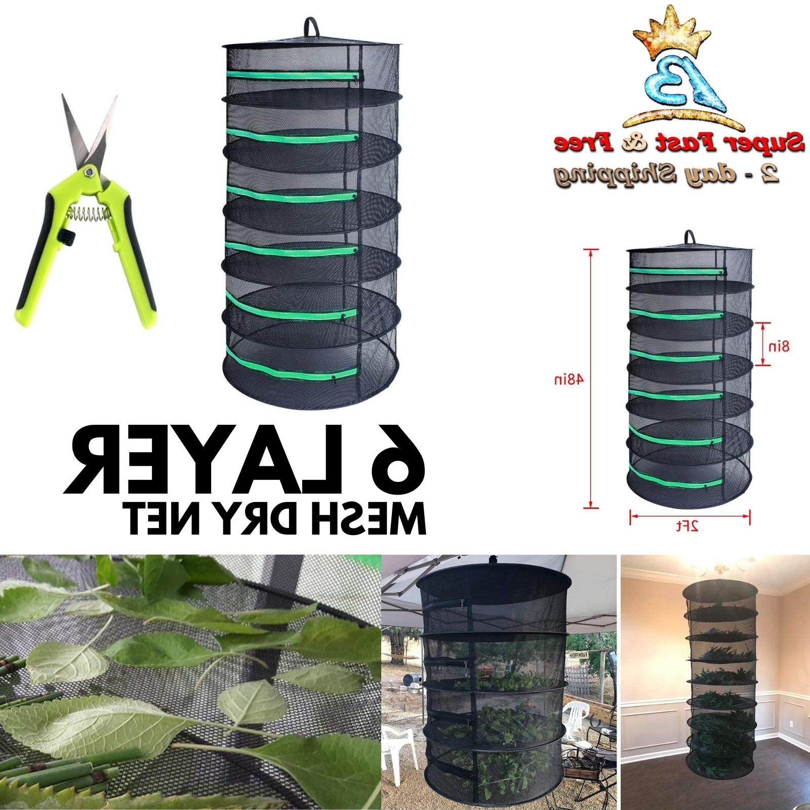 6 Layer Herb Drying System Rack Hanging Mesh Shelf Plant Bud