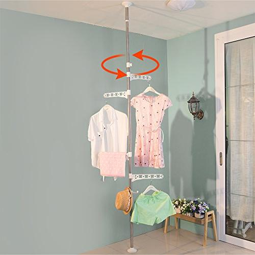 Baoyouni 4-Tier Standing Laundry Tension Pole, Ivory
