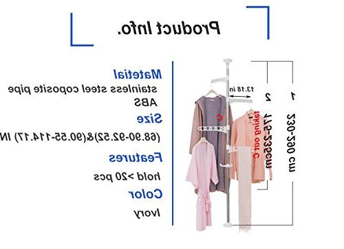 Baoyouni 4-Tier Standing Laundry Rack Hanger Ceiling Tension Pole,