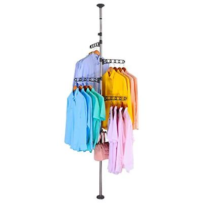 BAOYOUNI 4-Tier Standing Clothes Laundry Drying Rack Coat Ha