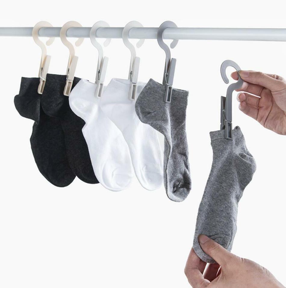 4pcs plastic clothes socks drying rack towel