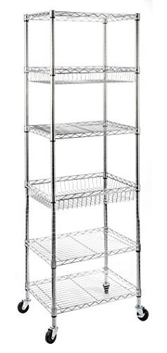 STORAGE MANIAC 6-Tier Steel Wire Shelving Unit, Rolling Stor