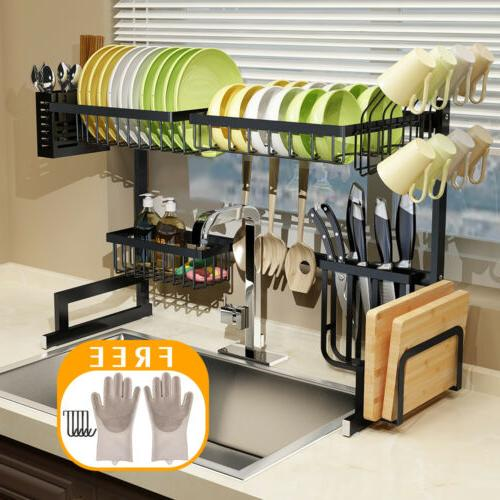 Over The Sink Dish Drying Rack Shelf Kitchen Storage Cooking