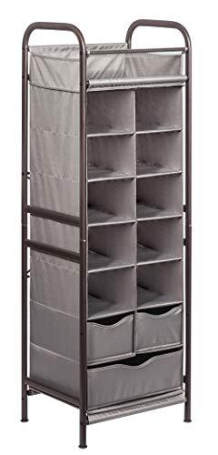 STORAGE MANIAC 7-Tier 13-Cubby Shoe Rack Organizer 3 Drawers