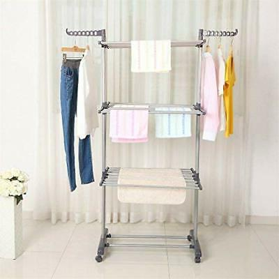 3 Layer Folding Clothes Airer Laundry Dryer Rack In/Outdoor