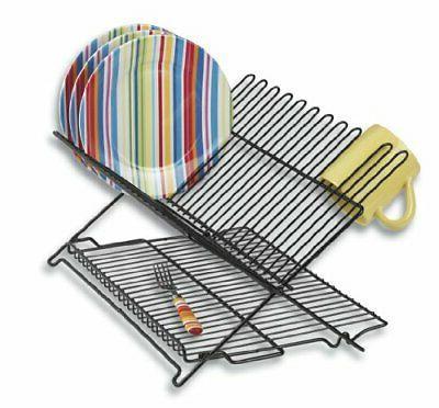 Better Houseware 1489/E Folding Dish Rack, Black