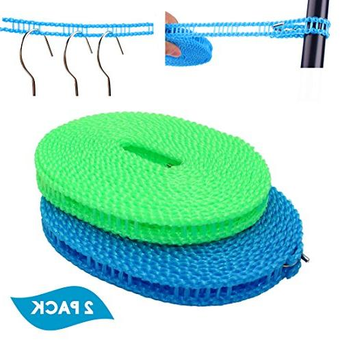 Laundry Drying Rope Clothesline Travel Windproof Elastic Clothesline Clip Hanger