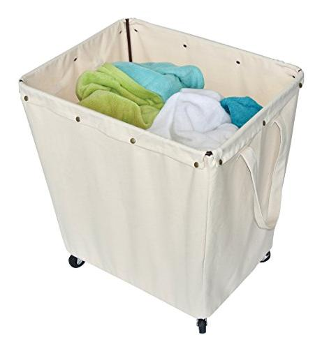 Homz Heavy Laundry Hamper, Casters, Canvas Large 5 of