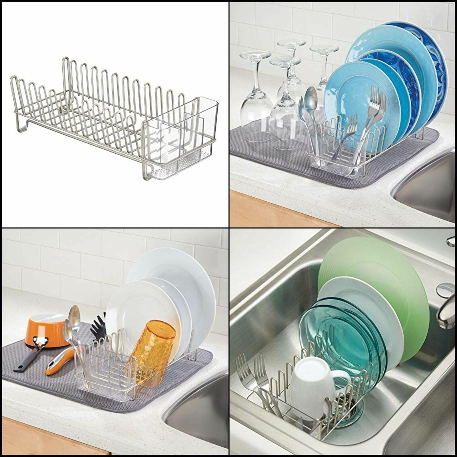 mDesign Compact Countertop, Sink Dish and Silicone Drying - Drain Dry Wine Glasses, Dishes - Satin Clear Heat-Safe Mat