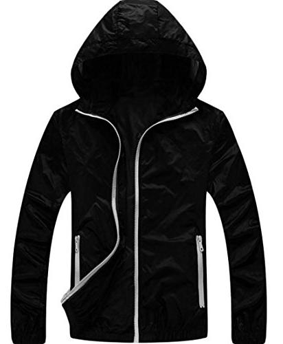 Pivaconis Men's Thin Quick Drying Breathable Overcoat Hooded