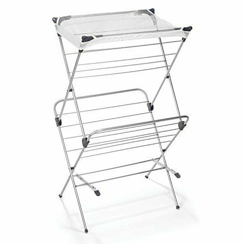 Polder Two-Tier Free Standing Clothes Drying Rack with Mesh