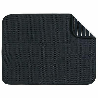 "S&T XL Microfiber Dish Drying Mat, 18"" x 24"", Black Mesh"