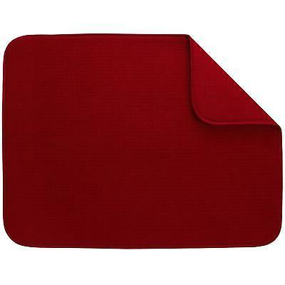 "S&T XL Microfiber Dish Drying Mat, 18"" x 24"", Red"