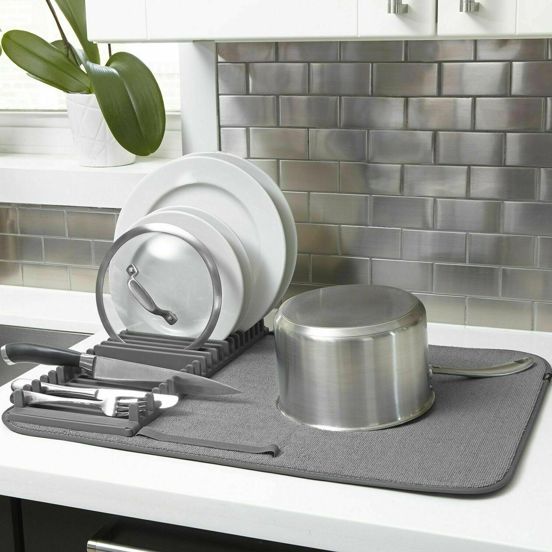 Umbra UDRY Dish Drying Rack and Microfiber Dish Mat - Space-