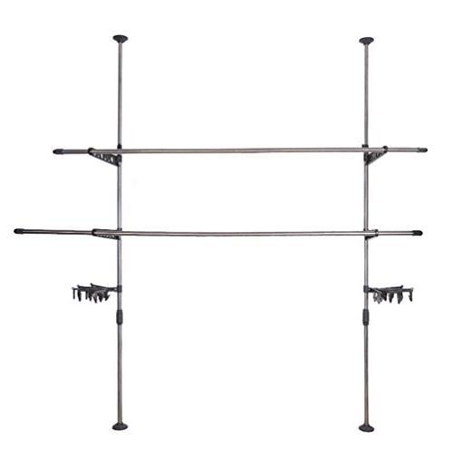 BAOYOUNI Garment Rack Hanger Floor Ceiling Free Standing Rack Telescopic Save Clips