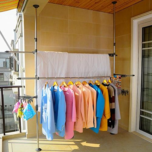 BAOYOUNI Rack DIY Clothes Hanger Free Standing Rack Save