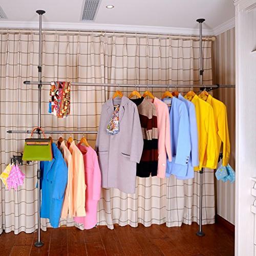 BAOYOUNI Adjustable Rack DIY Hanger Free Rack Telescopic Shelf Save with 30 Clips