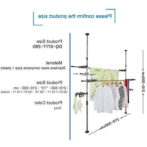 BAOYOUNI Adjustable Indoor Rack Hanger Floor Ceiling Free Drying Rack Telescopic Save Clips