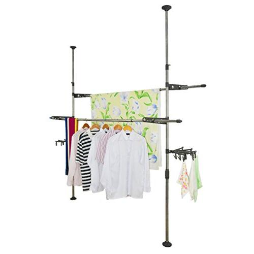 adjustable indoor garment rack diy