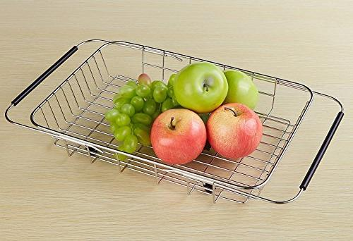 Adjustable Dish Rack Rack, Steel Drainer Kitchen Organizer Drying and Fruit and Silverware- Rustproof