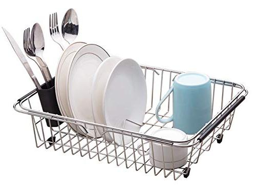 adjustable large over sink dish rack drying stainless steel