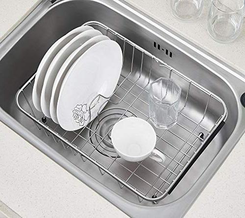 Adjustable Over Sink Dish Drying Rack Stainless Dish Drainer, On or Rack Functional Kitchen -
