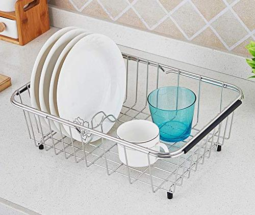 Adjustable Over Drying Rack Stainless Steel Dish On Counter or Sink Rack Functional Kitchen Strainer -
