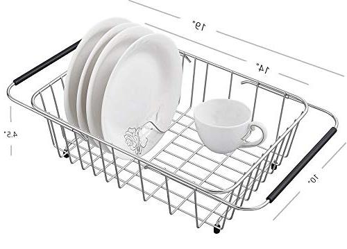 Adjustable Over Sink Dish Drying Rack Stainless Steel