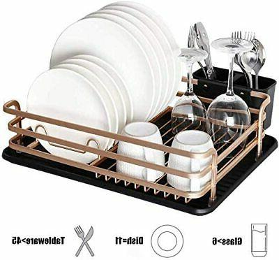 Aluminum Dish Drying Rack with Cutlery Holder, Removable Dra