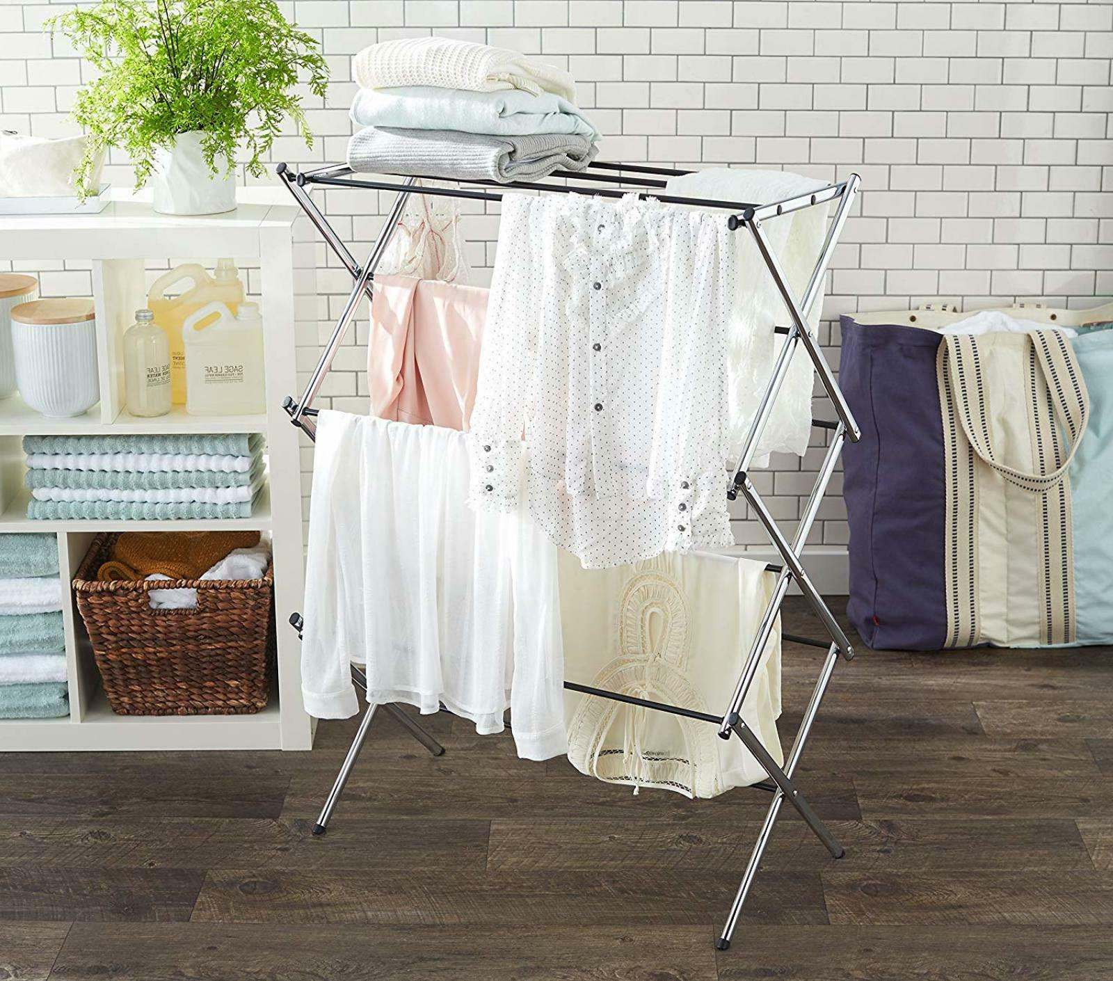 AmazonBasics Foldable Drying For And Gentle Chrome