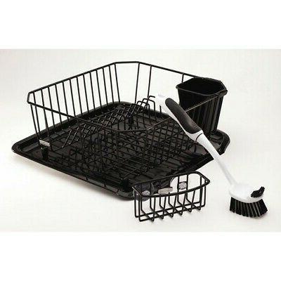 antimicrobial sink dish rack drainer set black