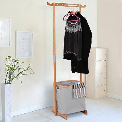 bamboo clothes drying rack laundry hamper garment