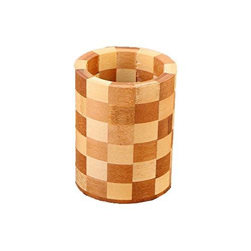 bamboo utensil holder circular plaid
