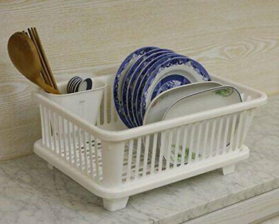 Basicwise Dish Rack with Drain Utensil Cup