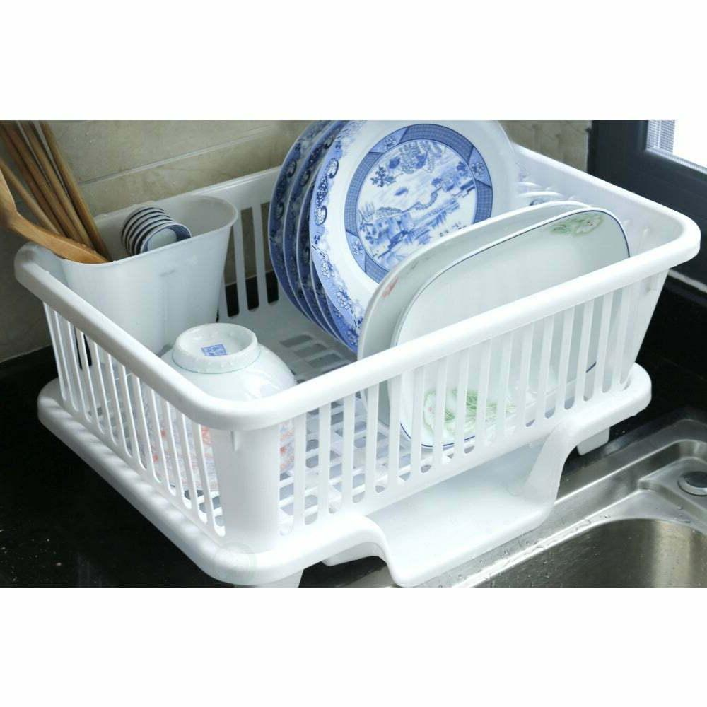basicwise plastic dish rack with drain board