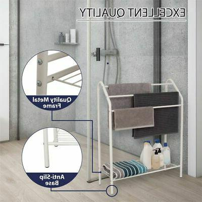 Bathroom with Tier Storage Shelf Holder Organizer White