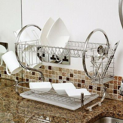 2 Tiers Kitchen Dish Cup Drying Rack Holder Organizer Draine